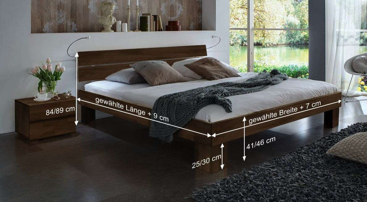 Bemaßungsskizze des Bett Lucca Komfort