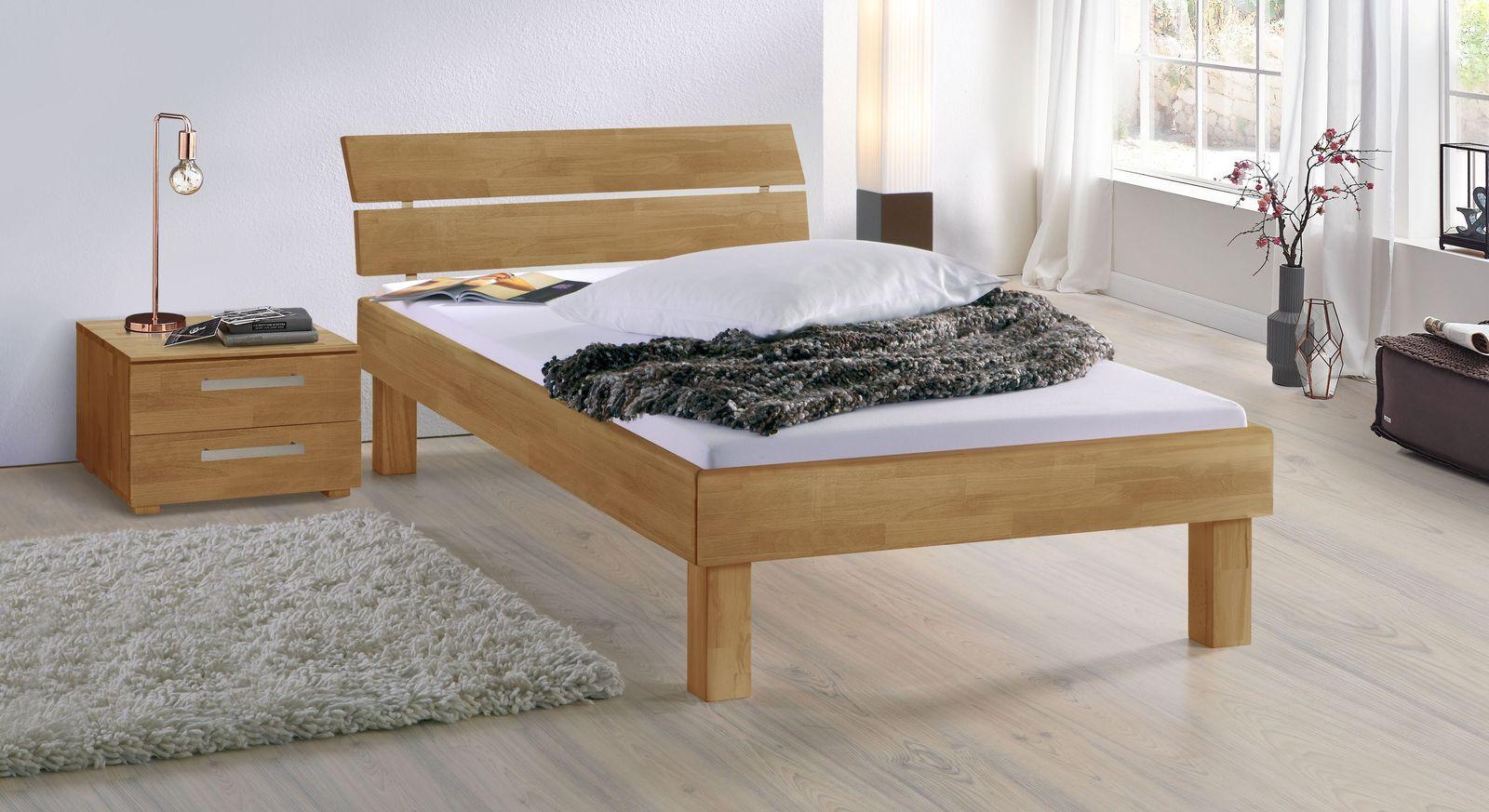 Bett Madrid Komfort aus Buche natur in 25 cm Höhe