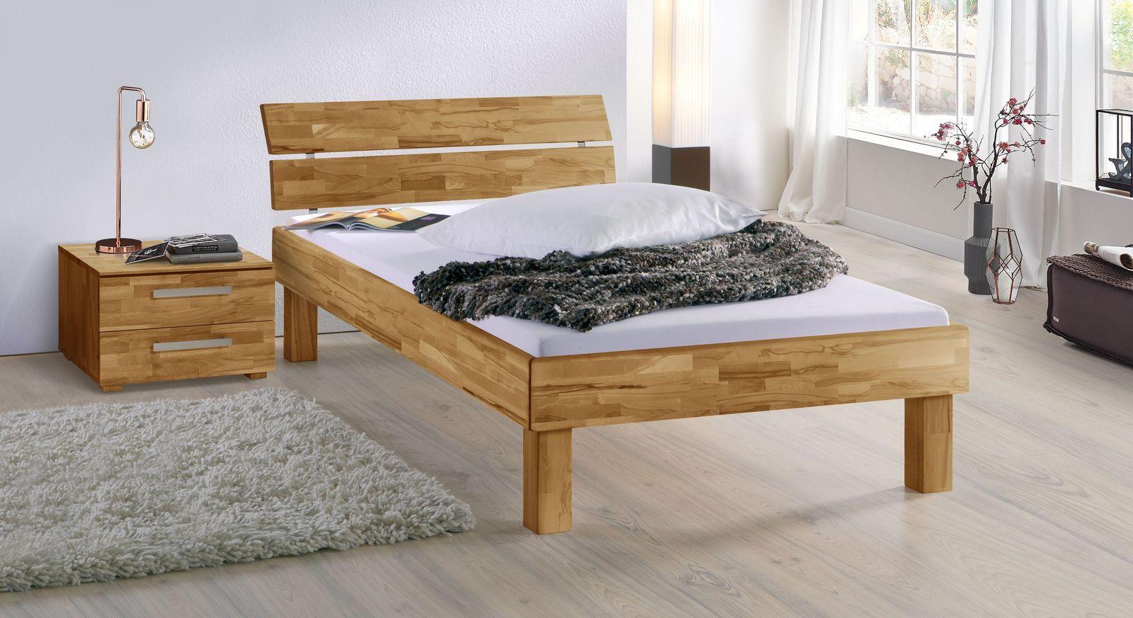 Bett Madrid Komfort aus Kernbuche natur in 25 cm Höhe