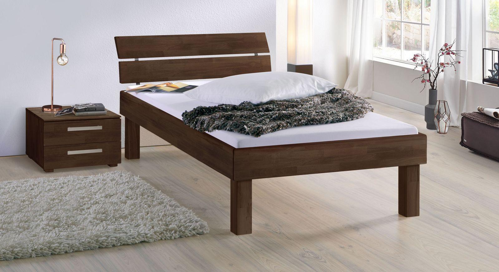Wengefarbenes Bett Madrid Komfort in 30 cm Höhe
