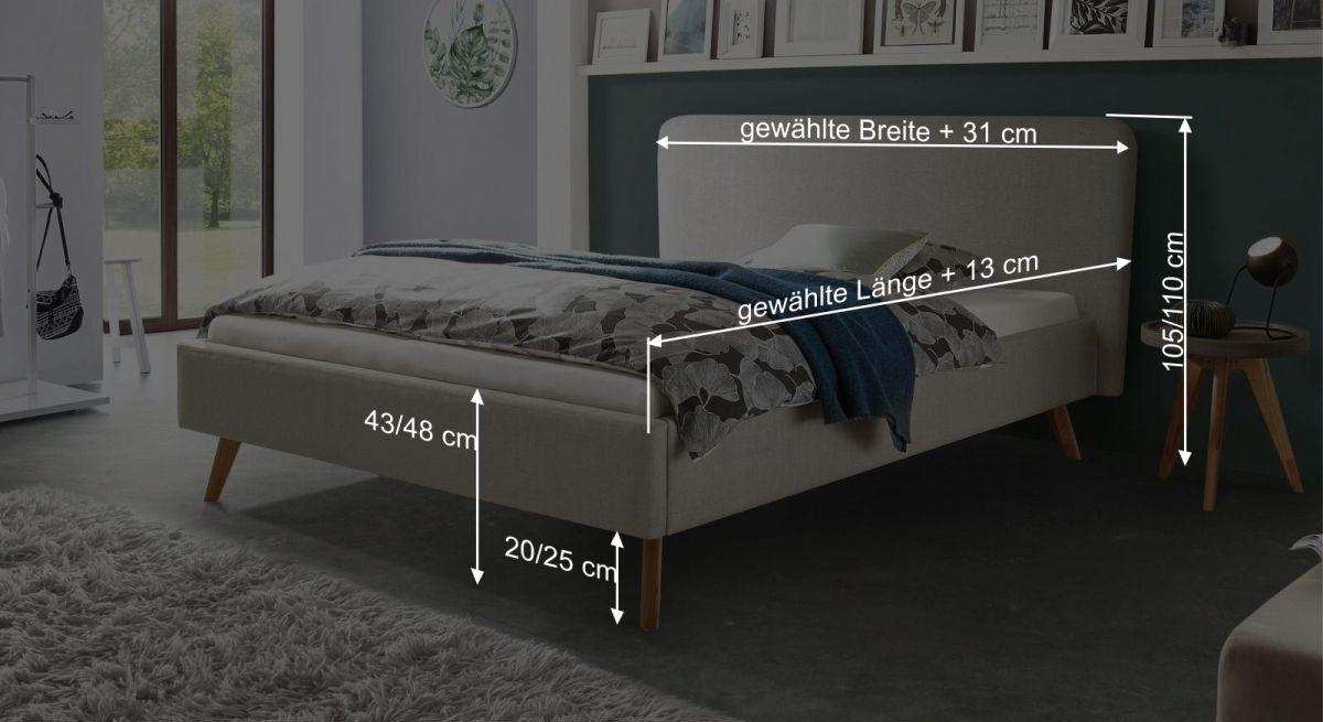 Bemaßungsgrafik zum Bett Magura