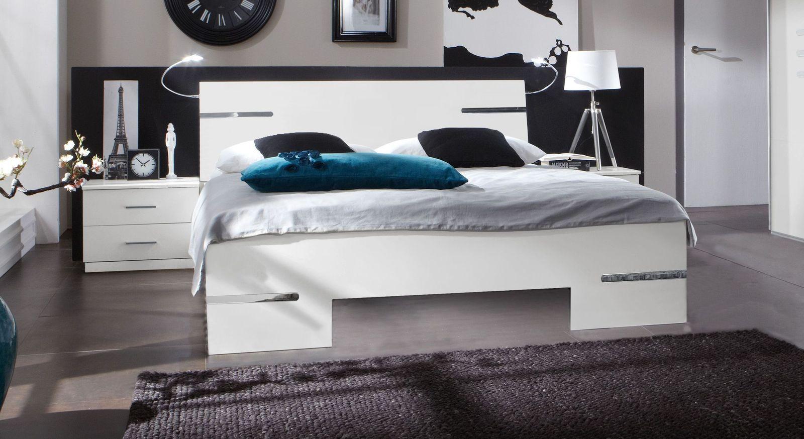 Bett Manati aus schlichtem Dekor in Alpinweiß