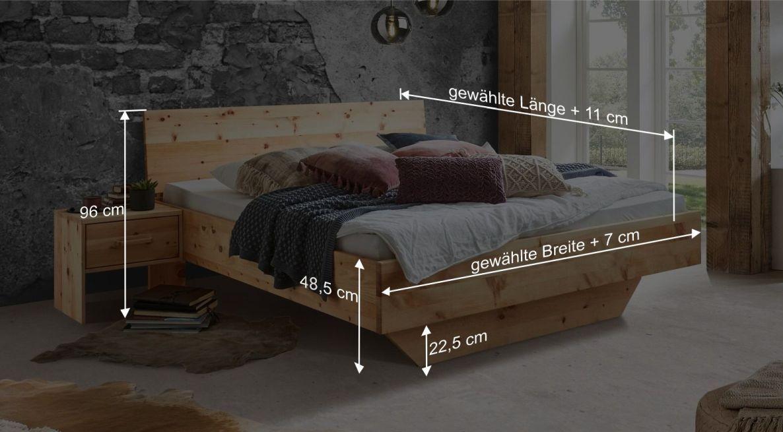 Bemaßungsgrafik zum Bett Marmolata