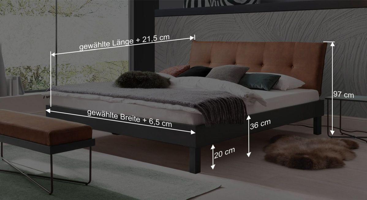 Bemaßungsgrafik zum Bett Mauno