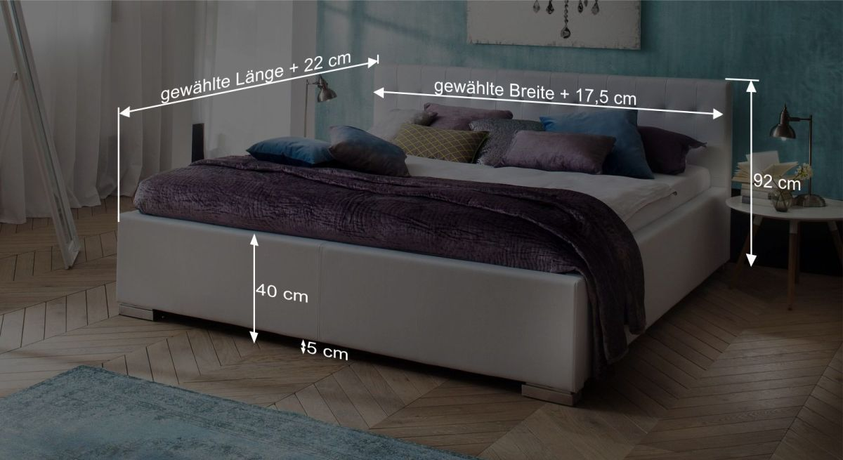 Bemaßungsgrafik zum Bett Molare