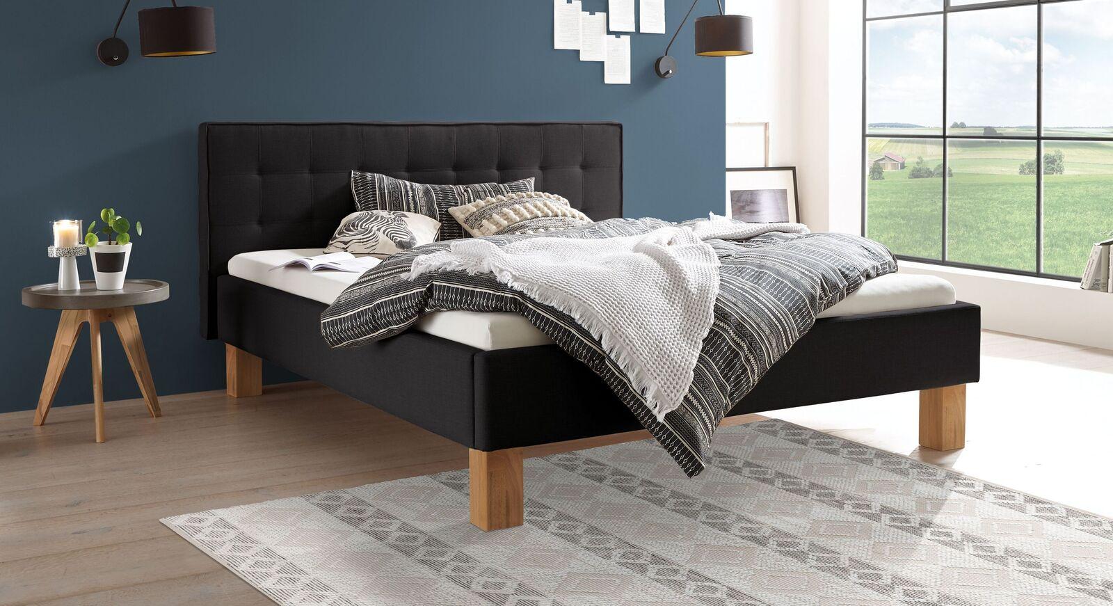 Bett Nieta aus anthrazitfarbenem Webstoff