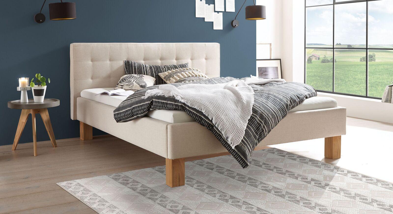 Bett Nieta aus beigefarbenem Webstoff