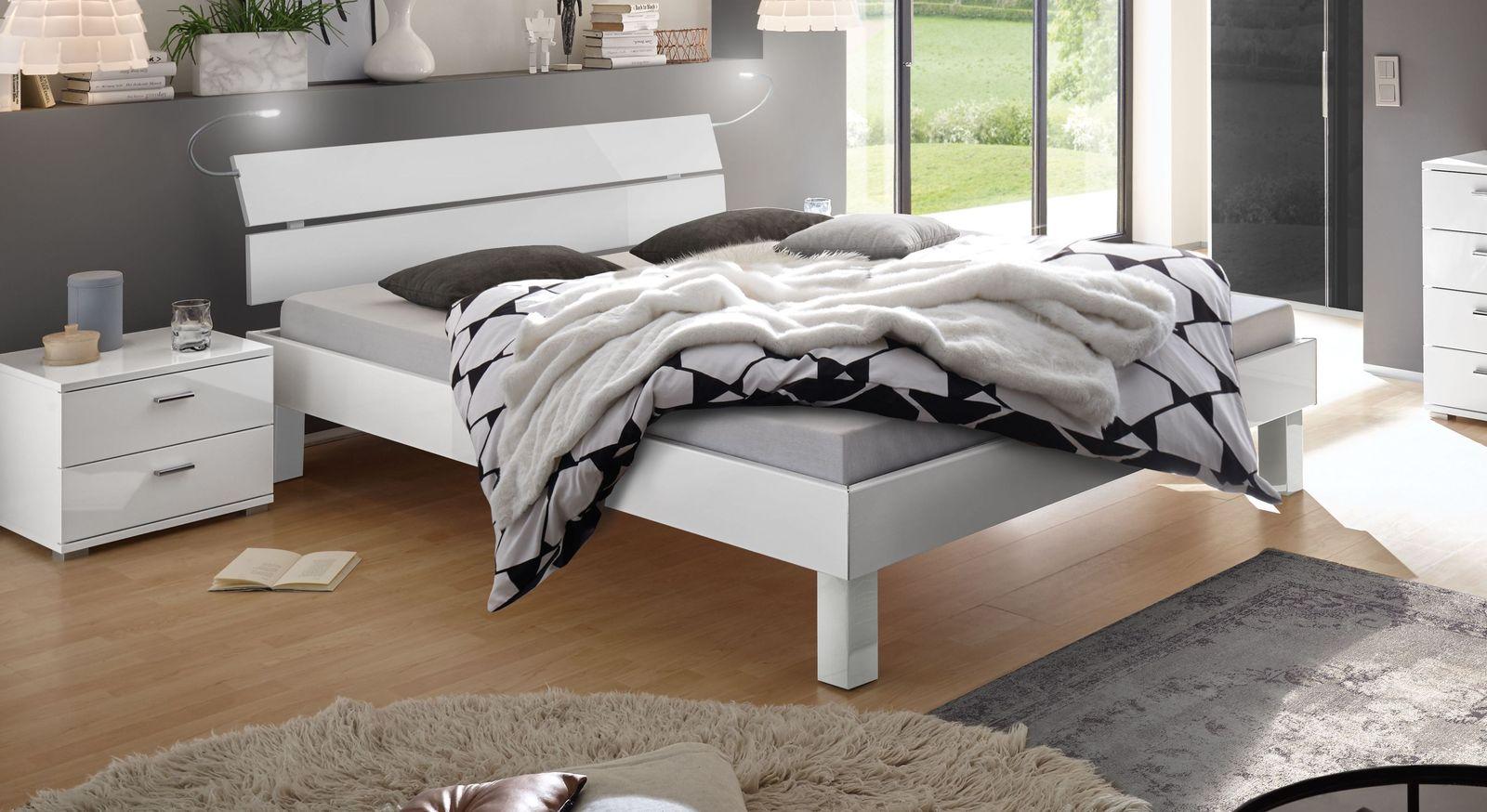Modernes Bett Norman in Hochglanz weiß