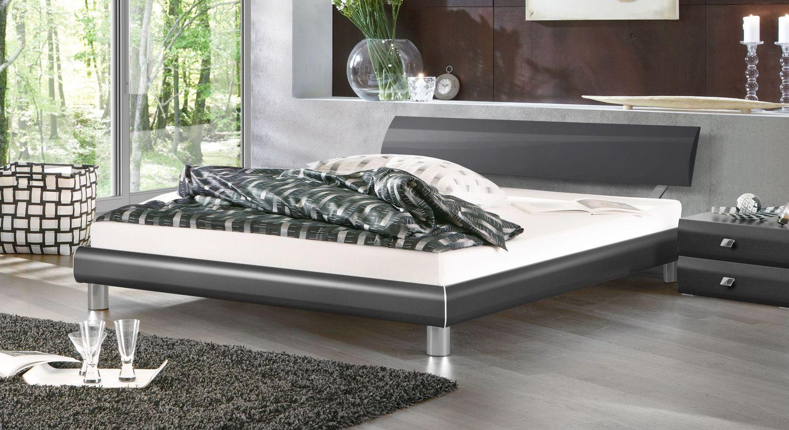 Bett Novara aus anthrazitfarbenem Dekor