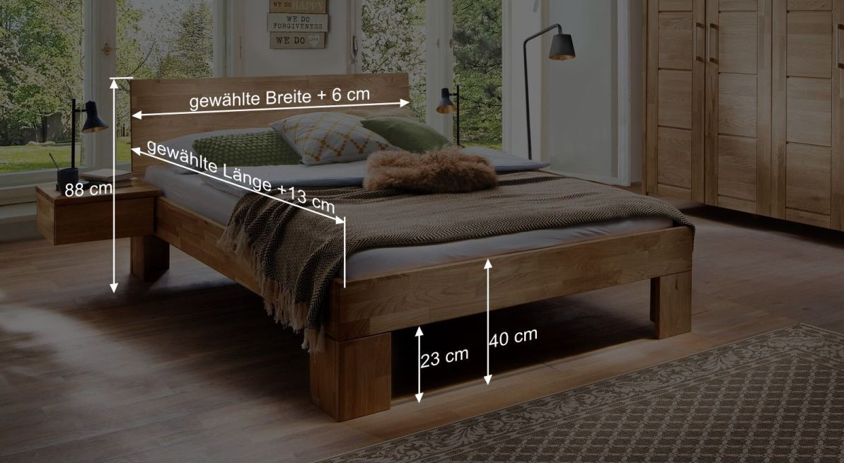 Bemaßungsgrafik zum Bett Pasja