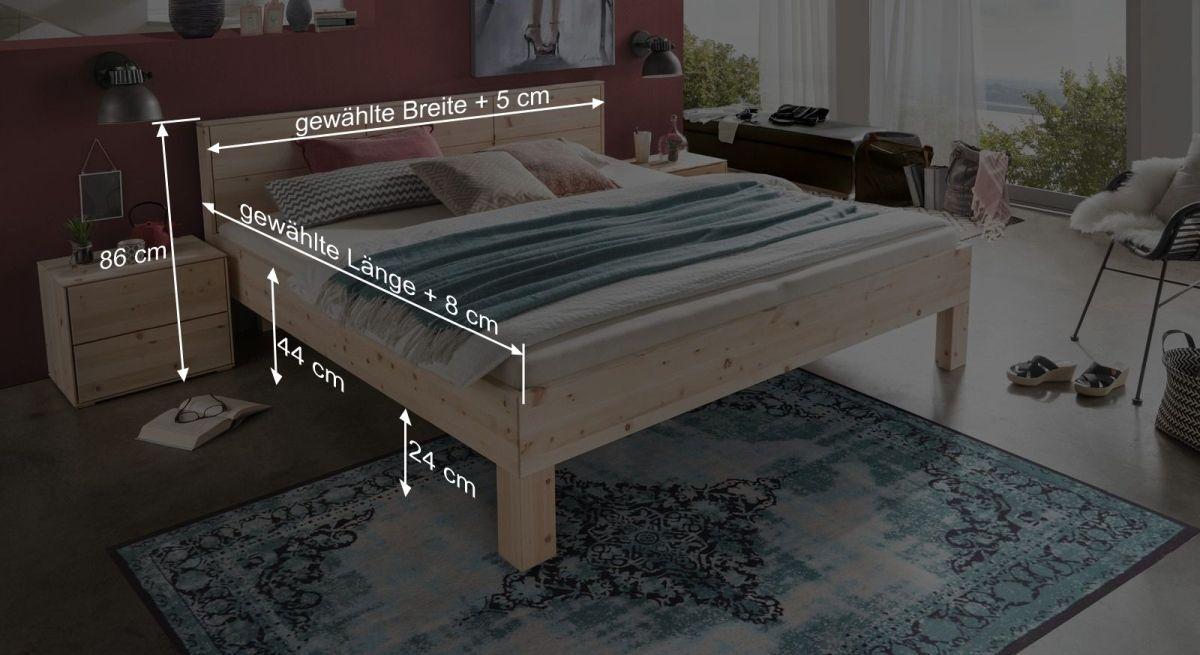 Bemaßungsgrafik zum Bett Pirka
