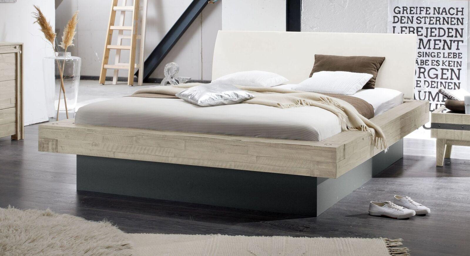 Weißes Bett Romero mit Kopfteilpolster in Weiß