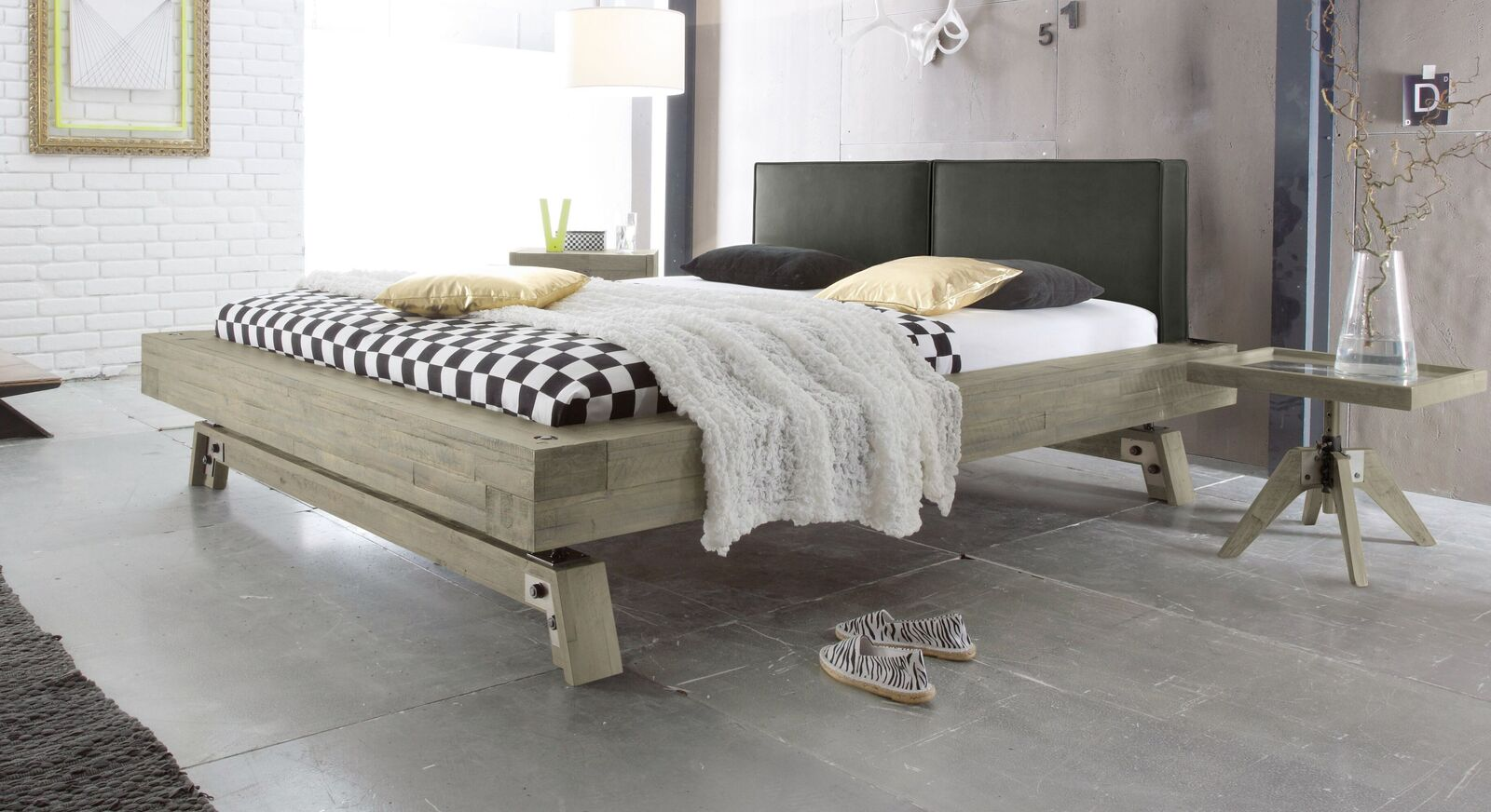 Bett Salo aus weißem Akazienholz