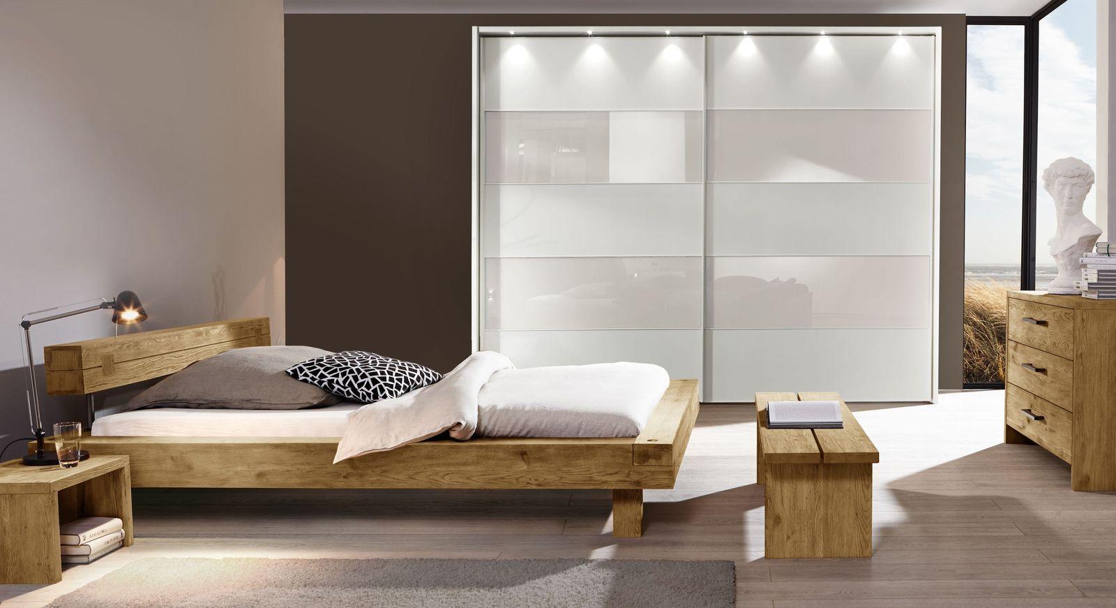 Komplett Schlafzimmer Mit Balkenbett Aus Wildeiche San Luis
