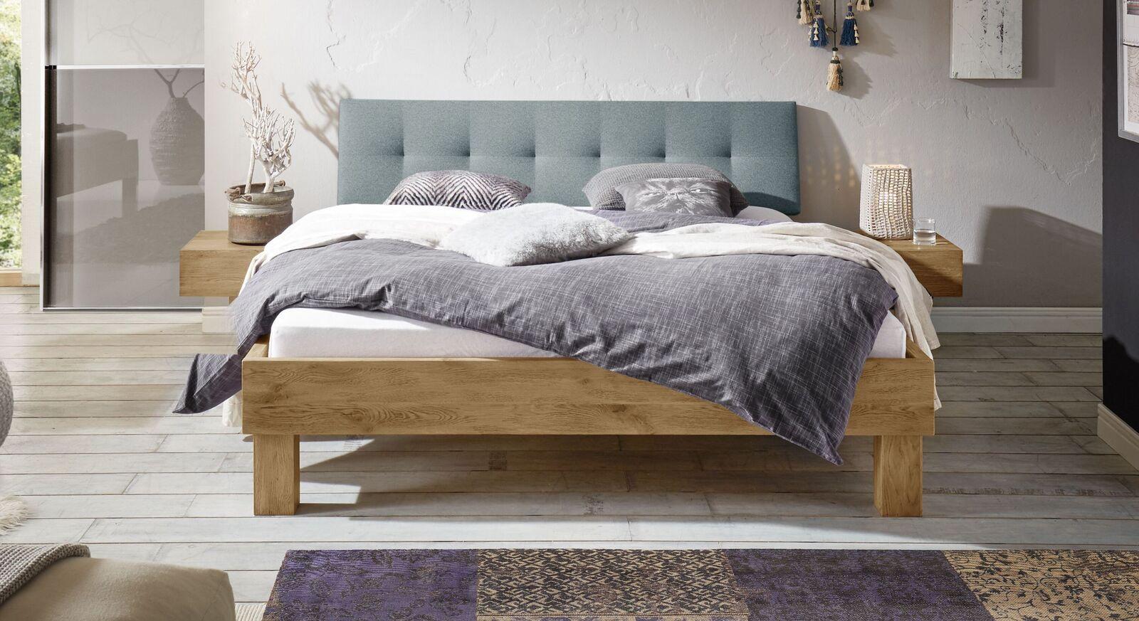 Bett Santa Luiza aus blaugrauem Veloursstoff