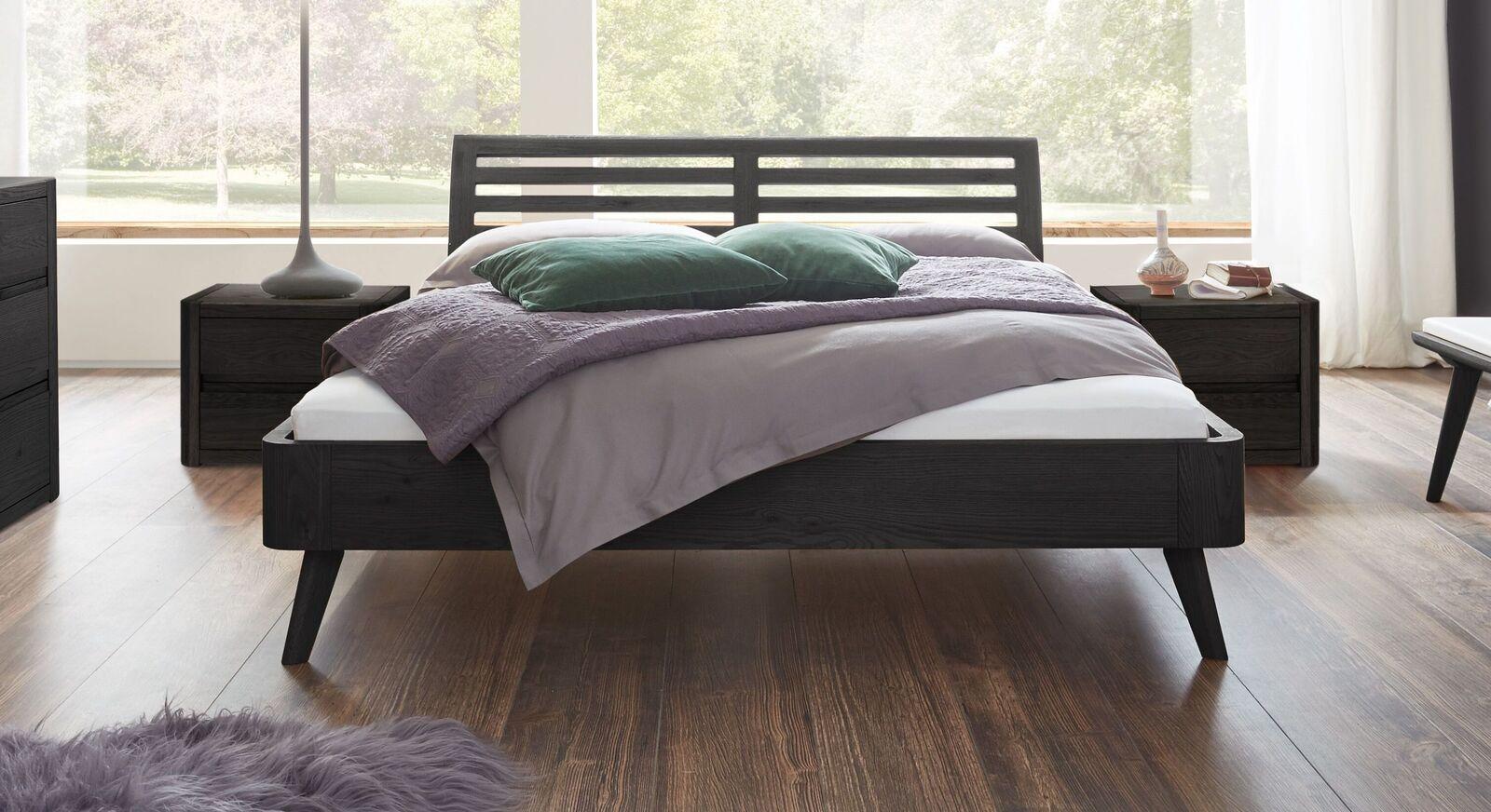 Bett Santa Rosa aus graphitfarbener Eiche