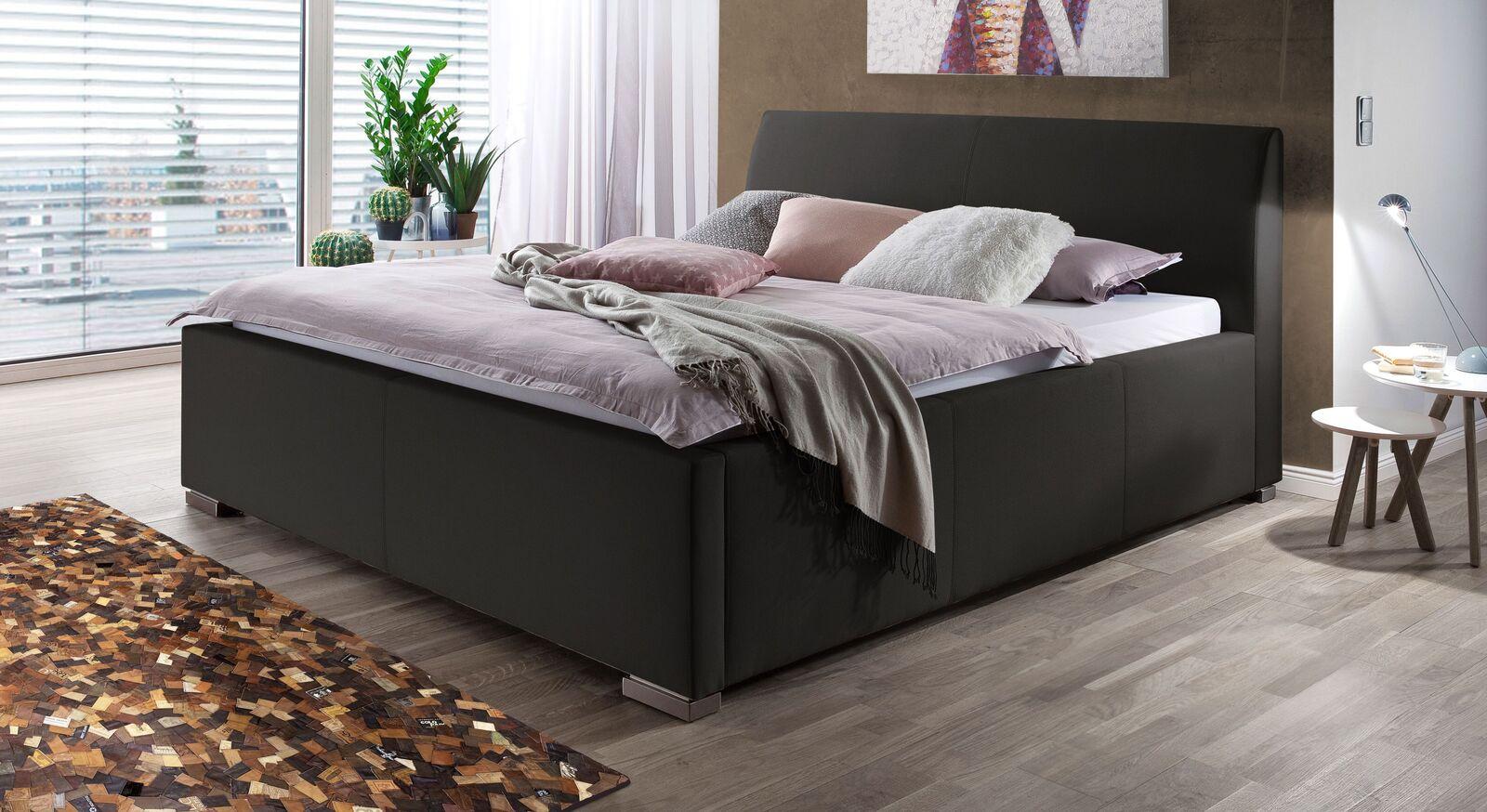 Bett Sesimbra mit schwarzem Webstoffbezug