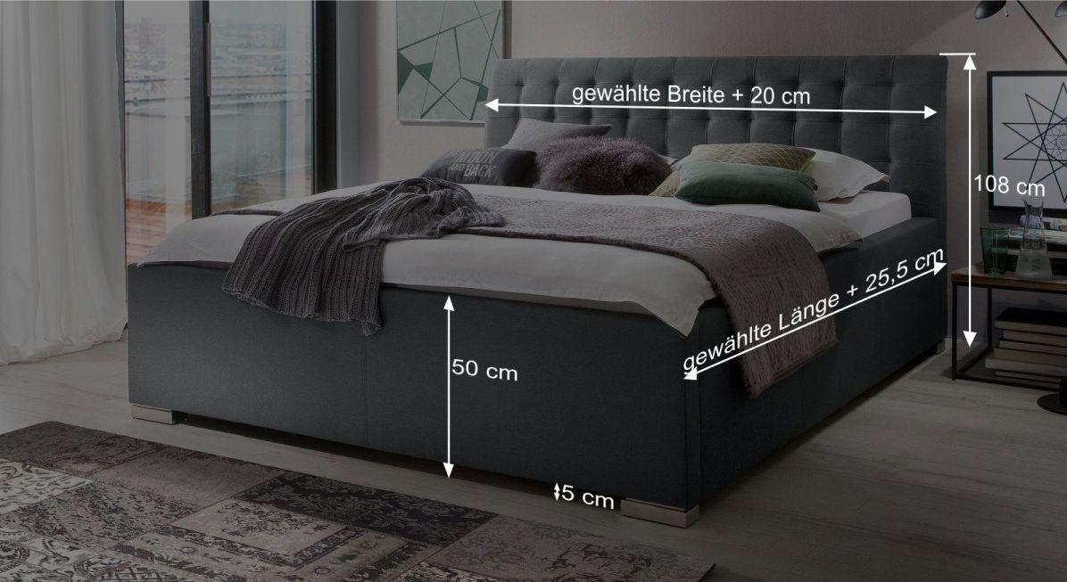 Bemaßungsgrafik zum Bett Setiara