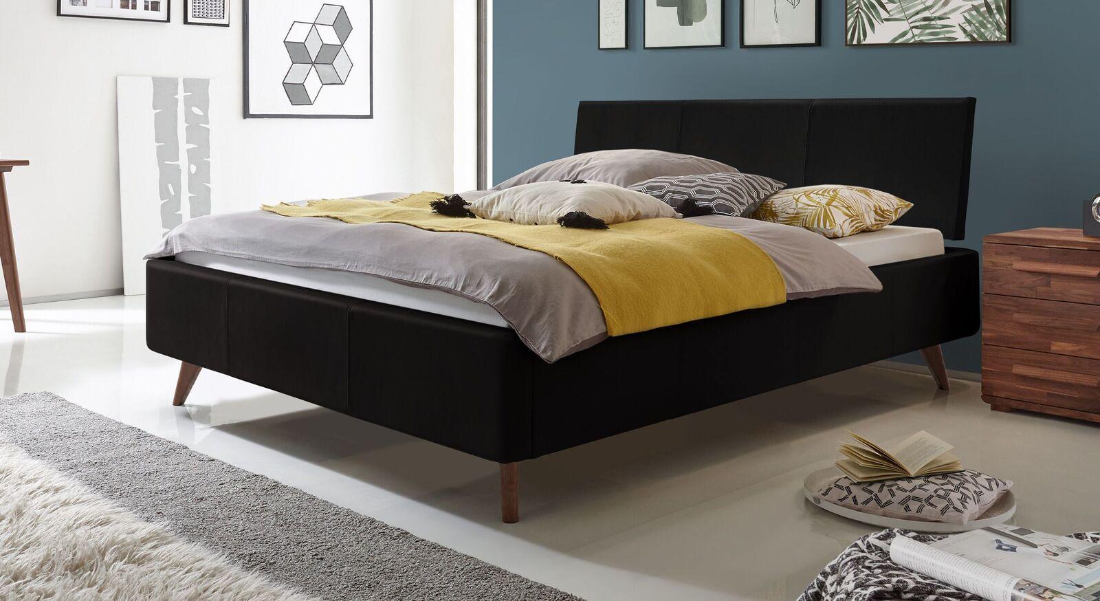 Bett Sien mit schwarzem Echtlederbezug
