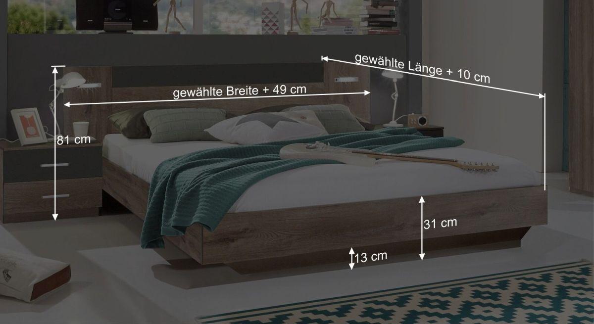 Bemaßungs-Grafik zum Bett Sontra