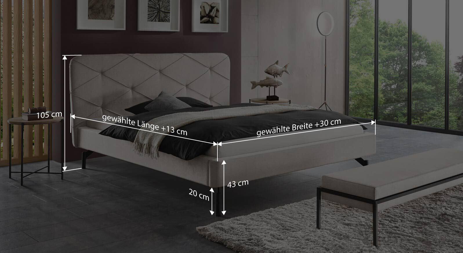Bemaßungsgrafik zum Bett Sotello