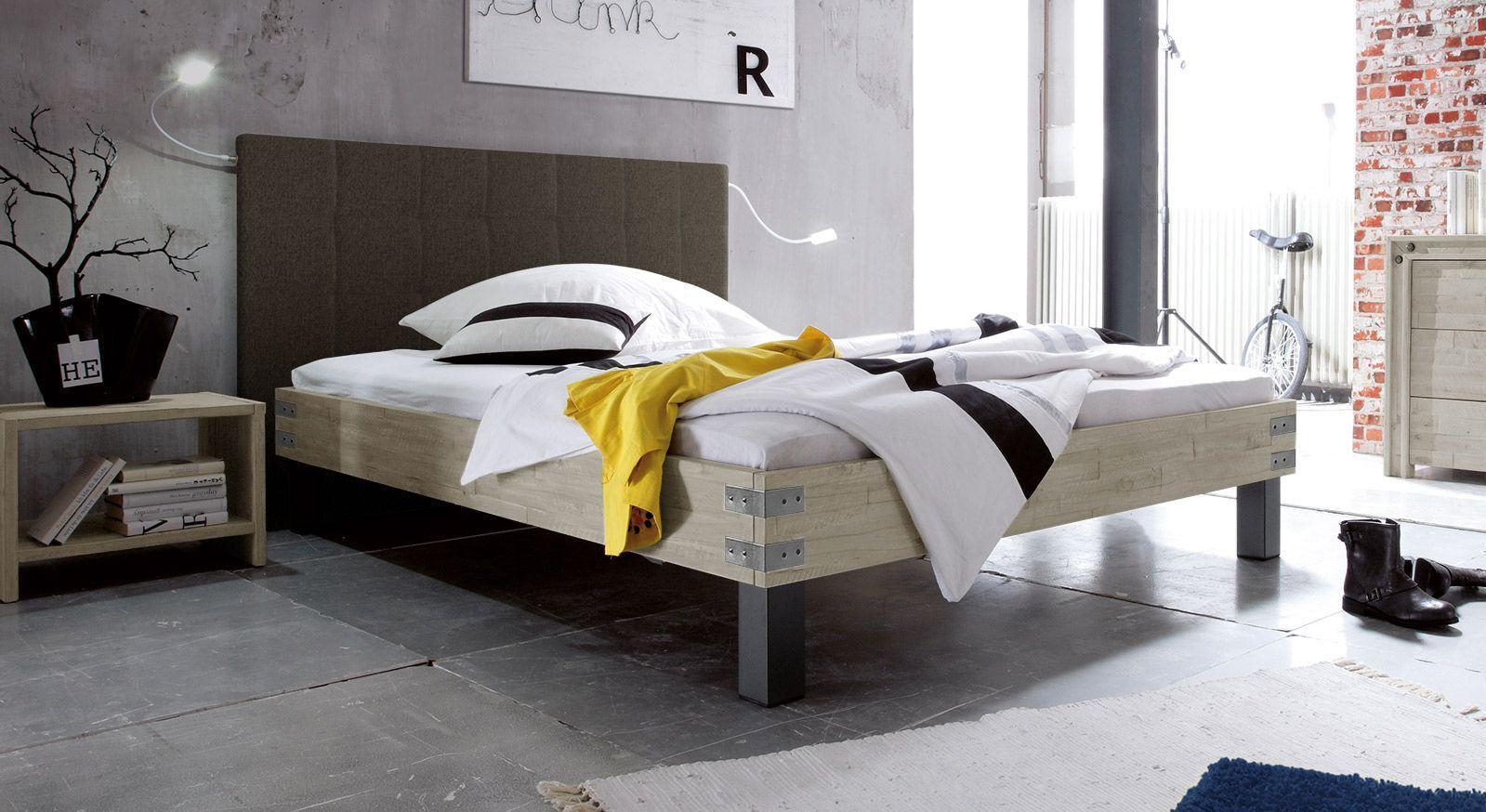 Bett Talca in weißer Akazie mit Kopfteil in Braun