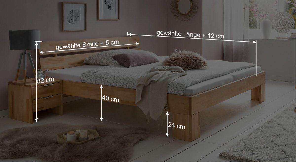 Bemaßungs-Grafik zum Bett Tonia