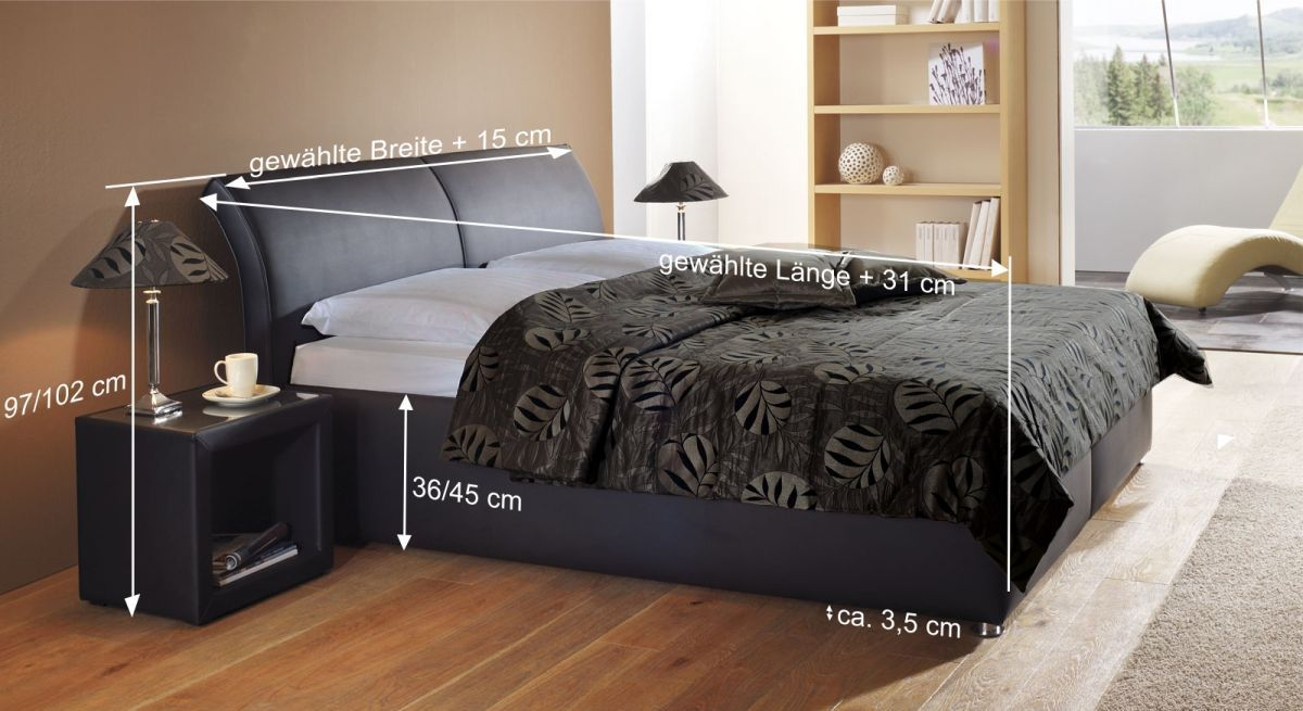 Bemaßungs-Skizze für Bett Trapani