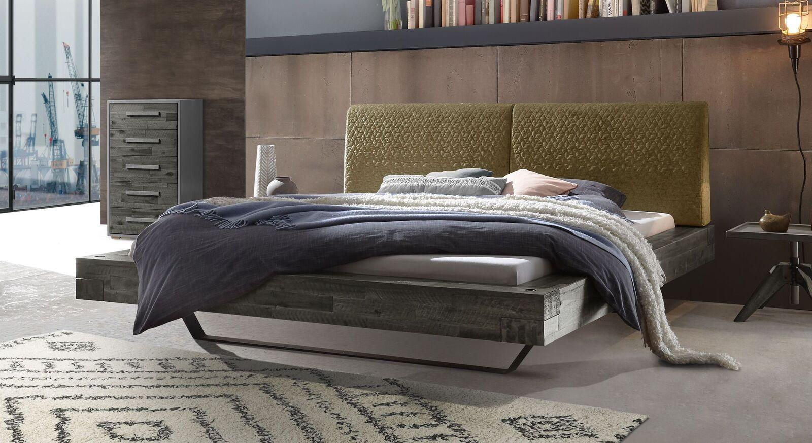 Bett Velario mit grauem Rahmen und khakifarbenem Kopfteil