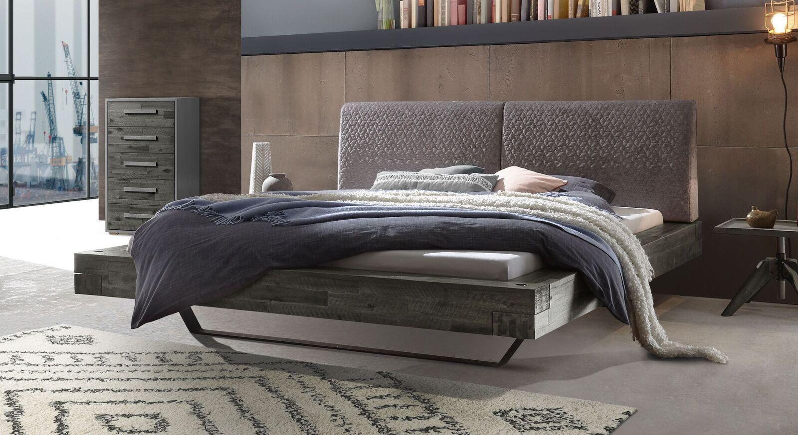 Bett Velario mit grauem Rahmen und silberfarbenem Kopfteil