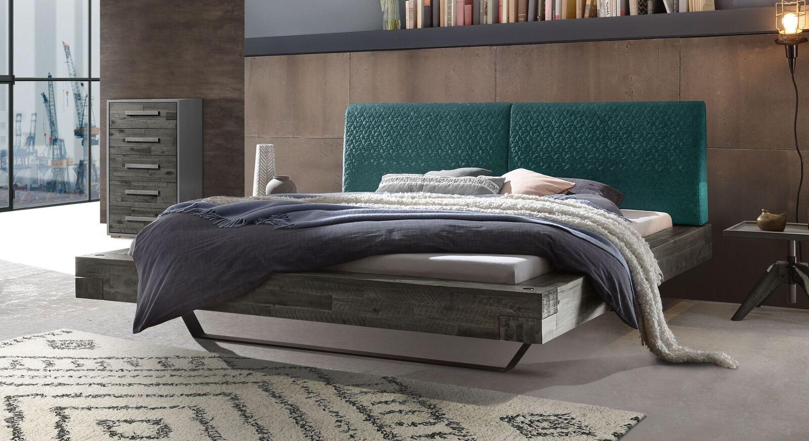 Bett Velario mit grauem Rahmen und smaragdfarbenem Kopfteil