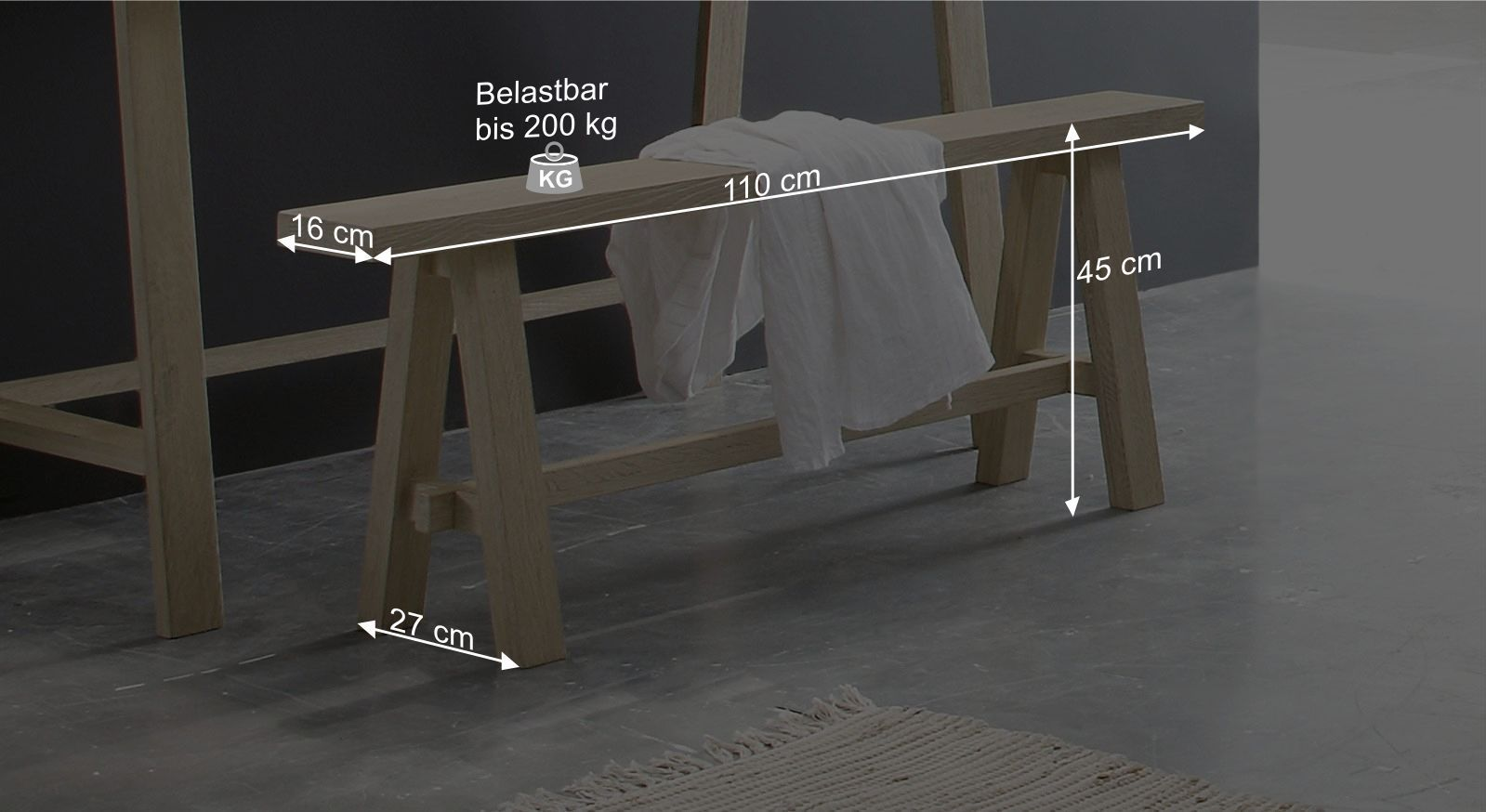 Bettbank Bonedas Bemaßungsgrafik