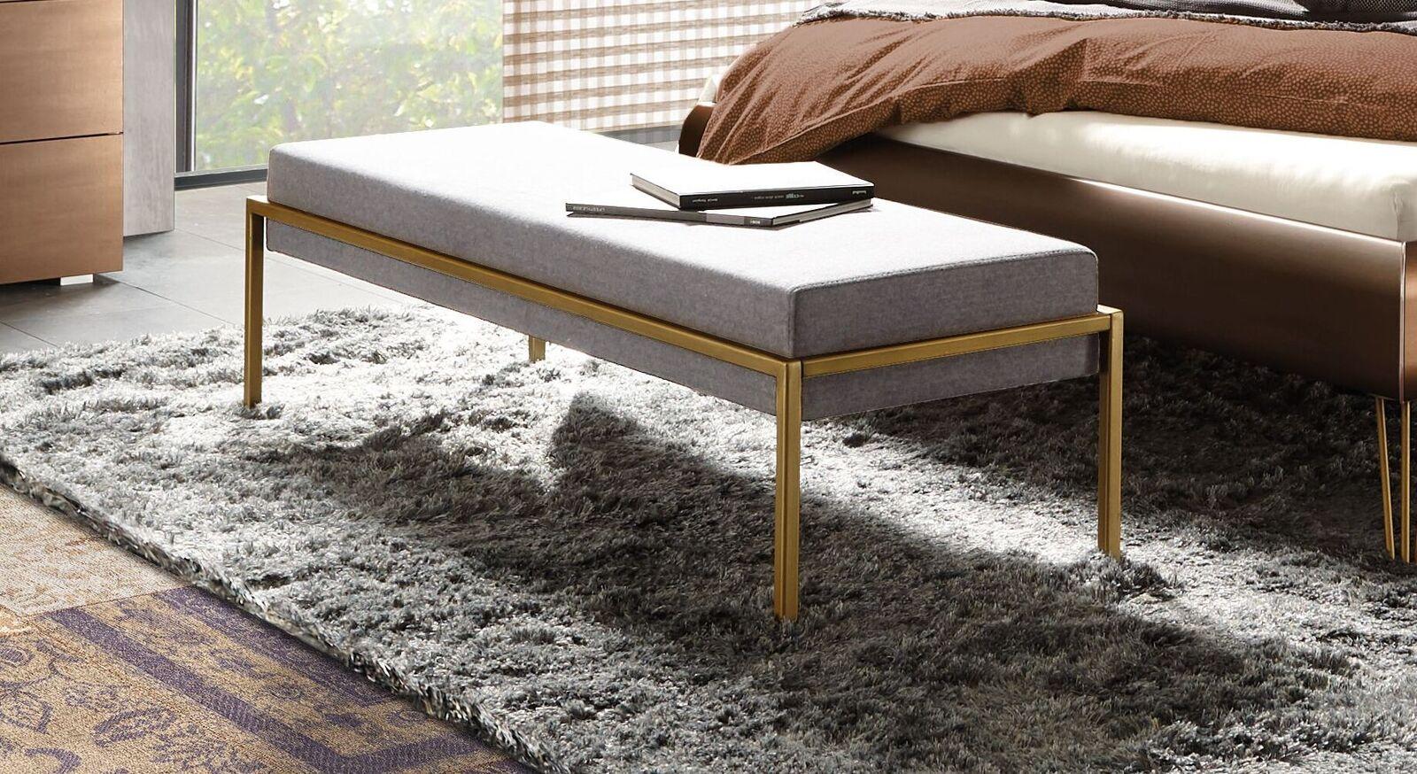 Bettbank Sirone mit weißgrauem Velours-Bezug