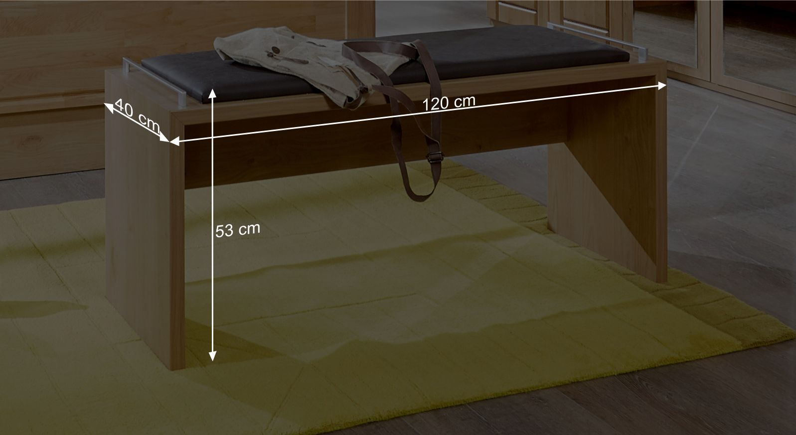 Bettbank Trikomos Bemaßungsgrafik