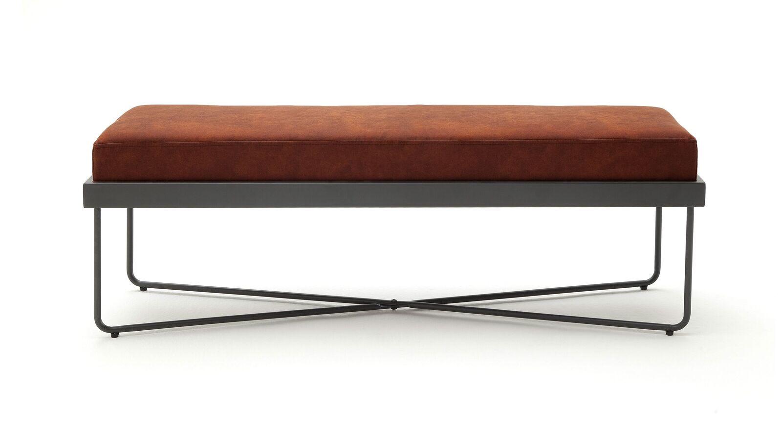 Bettbank Vegeta mit Sitzkissen aus cognacfarbenem Kunstleder