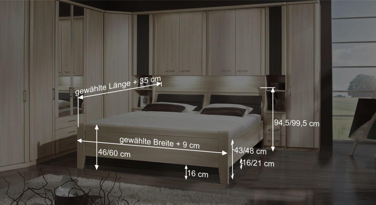 Bettbrücken-Bett Palenas Bemaßungsgrafik