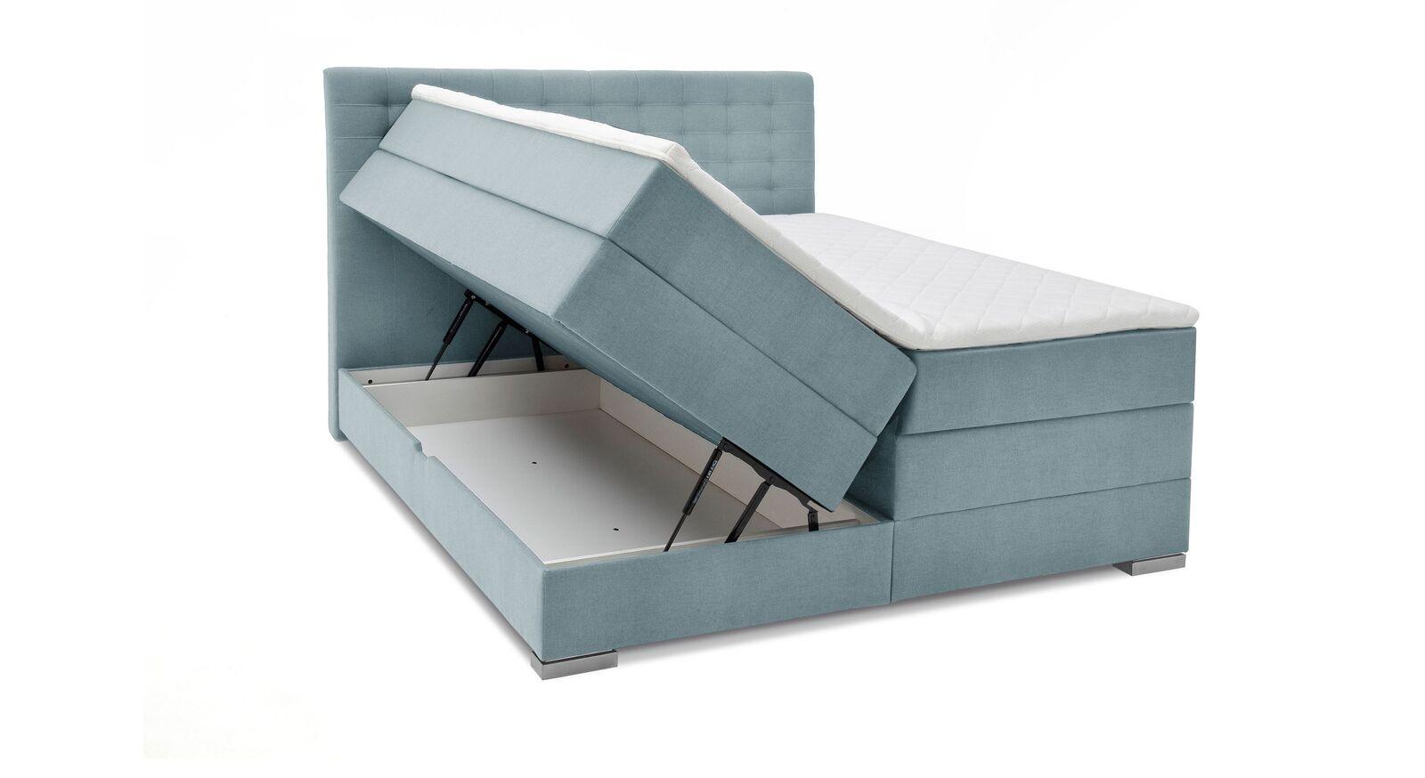 Bettkasten-Boxspringbett Agulo aus eisblauem Velours-Webstoff