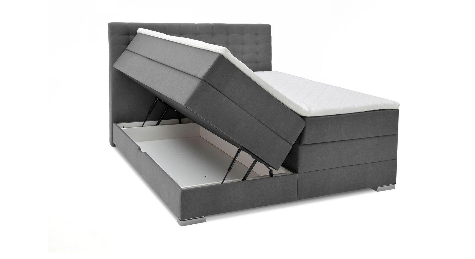 Bettkasten-Boxspringbett Agulo aus hellgrauem Velours-Webstoff