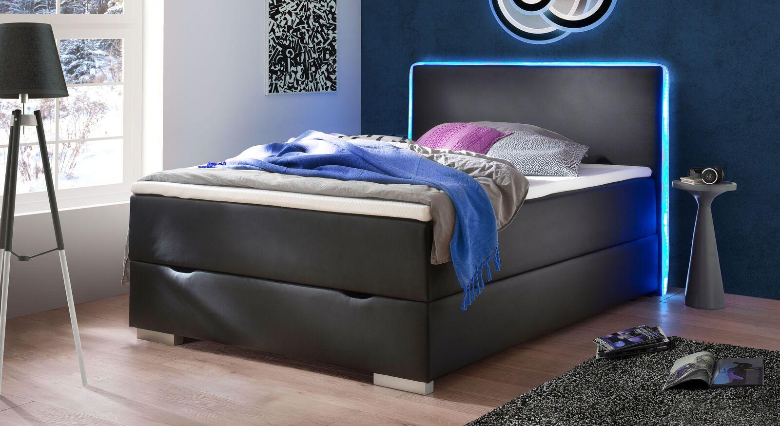 Bettkasten-Boxspringbett Merwin aus schwarzem Kunstleder