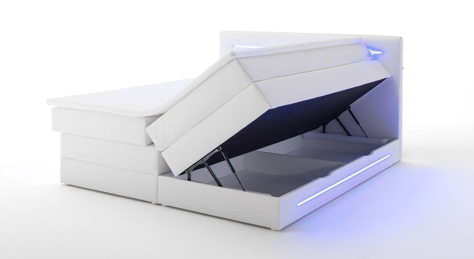 Bettkasten-Boxspringbett Tarasco mit unterteiltem Stauraum