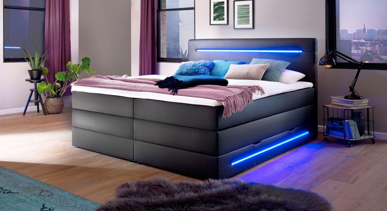 Bettkasten-Boxspringbett Tollocan mit stylischer Beleuchtung