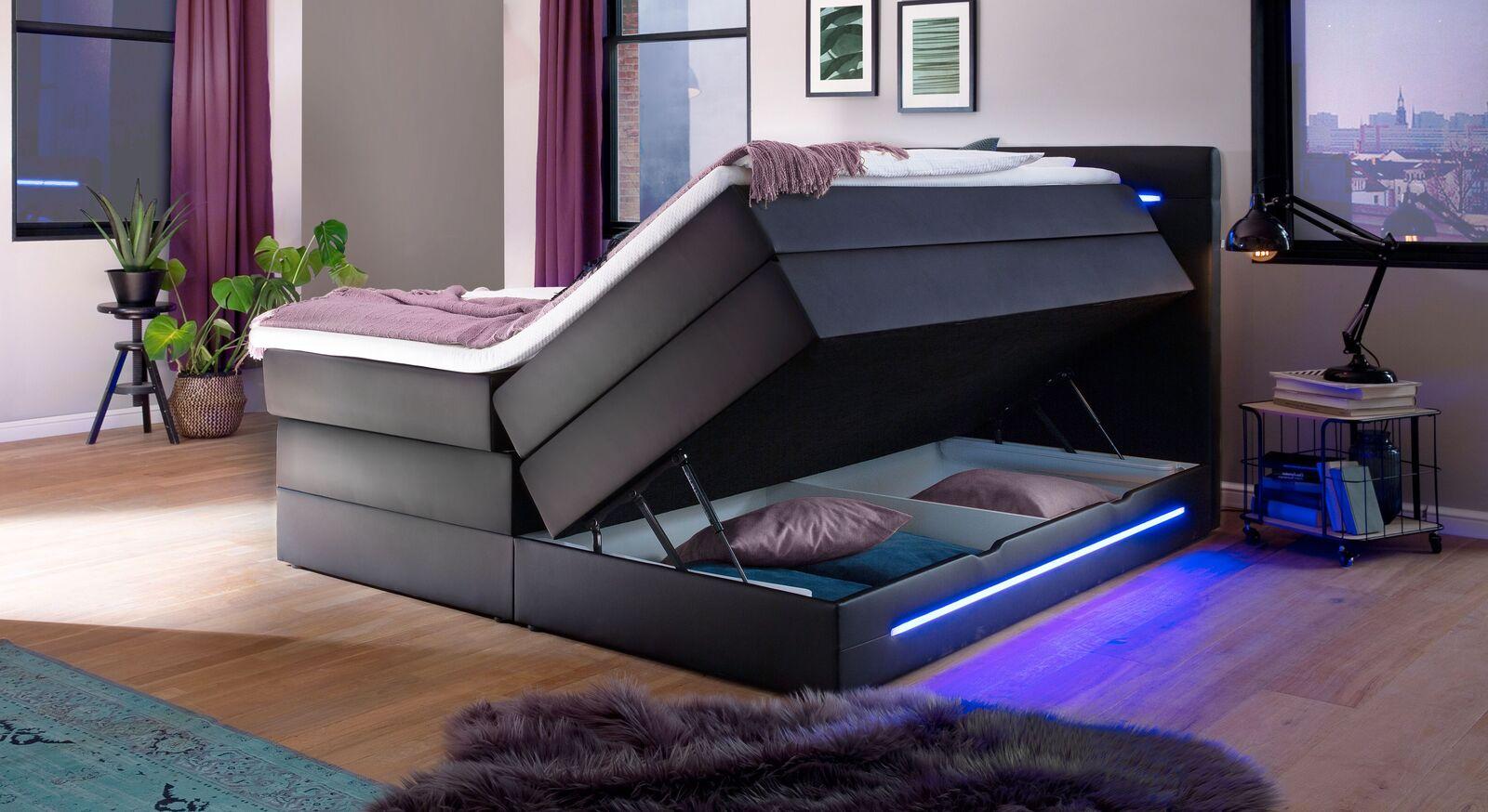 Bettkasten-Boxspringbett Tollocan mit LED-Beleuchtung
