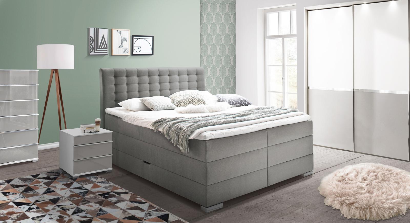Bettkasten-Boxspringbett Viviana mit passenden Schlafzimmermöbeln