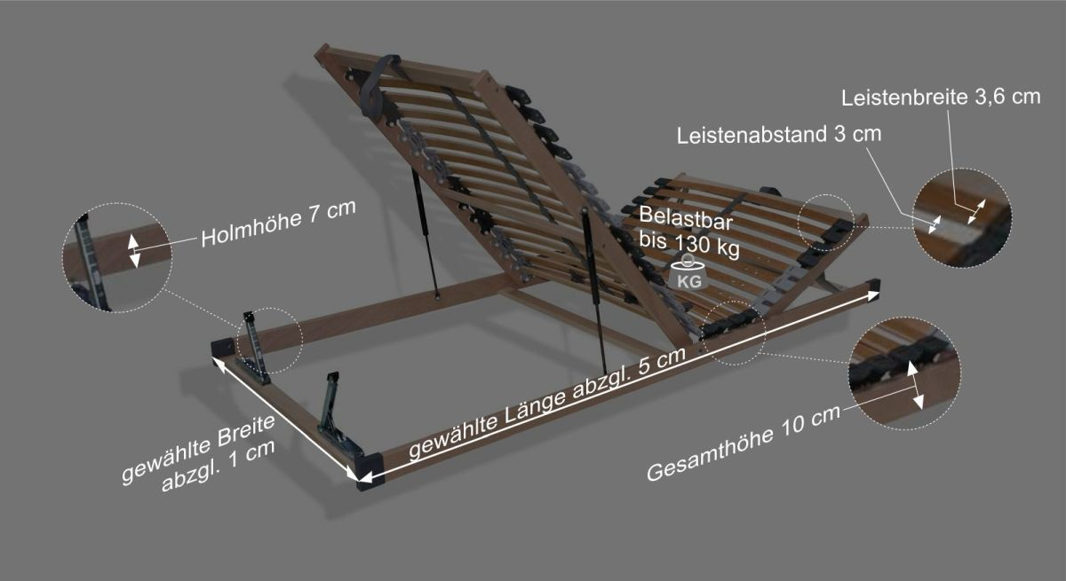 Bettkasten-Lattenrost youSleeps Bemaßungsgrafik