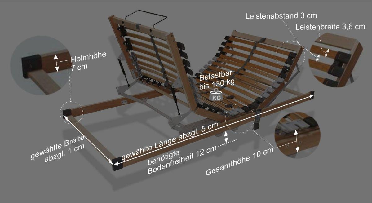 Maßangaben zur Verstellung des Bettkasten-Lattenrostes youSleep motor