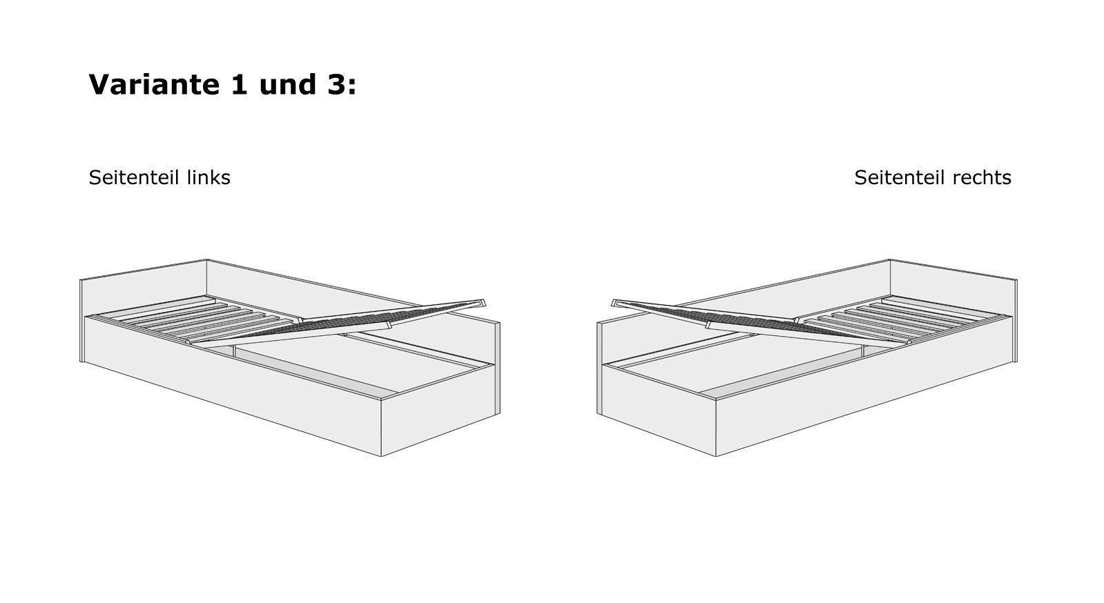 Bettkasten-System für Studioliegen mit Lattenrost