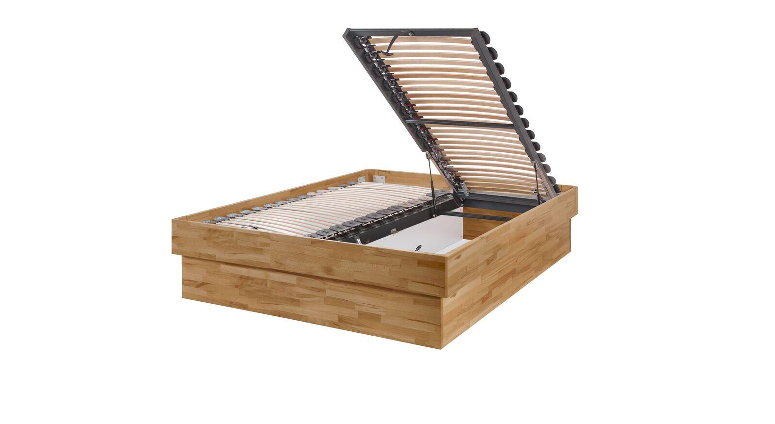 Bettkastenbett Karuna mit Lattenrost vom Fußende zu öffnen