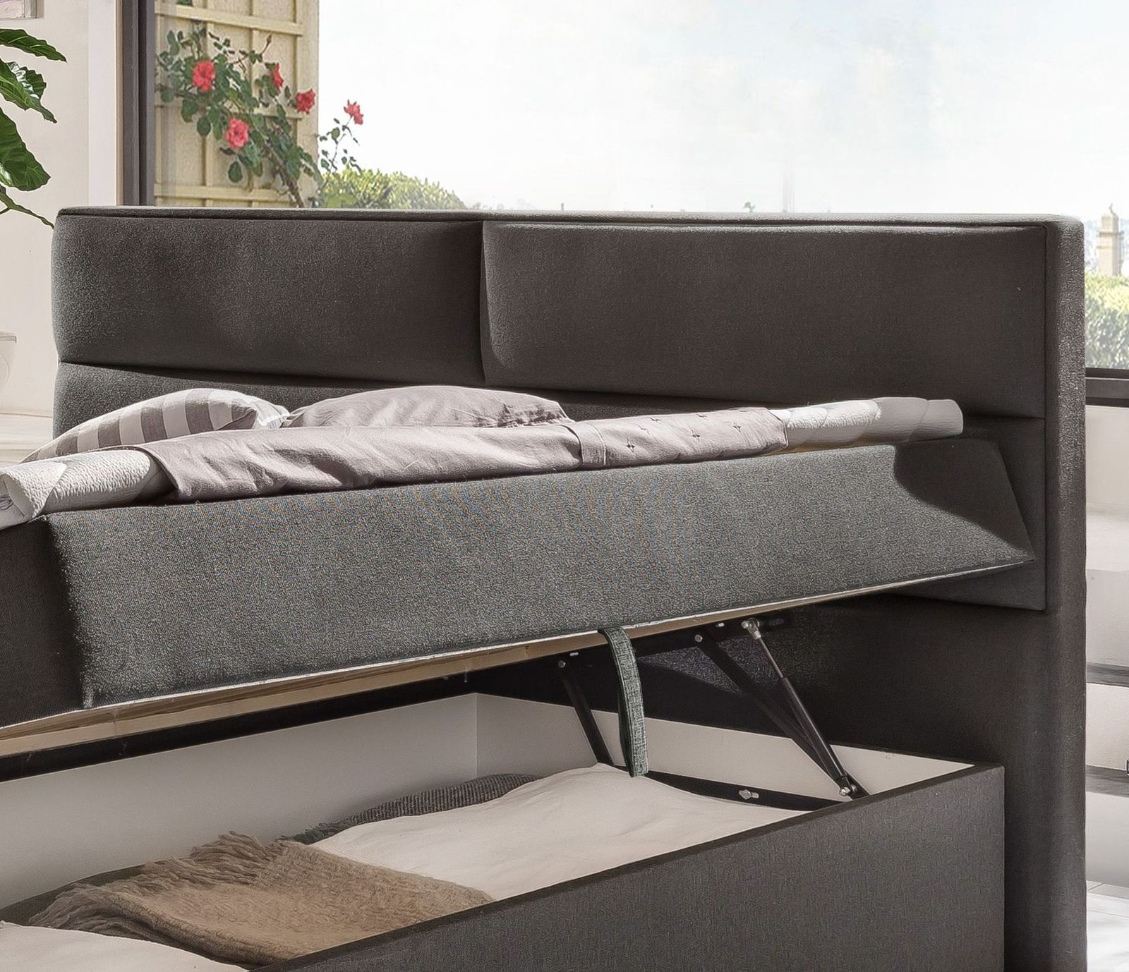 stoff boxbett 180x200 cm inklusive matratzen topper. Black Bedroom Furniture Sets. Home Design Ideas
