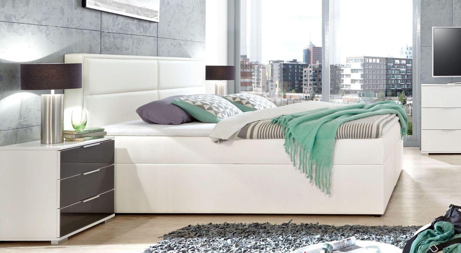 Boxbett Sinopoli mit weißem Kunstleder Bezug