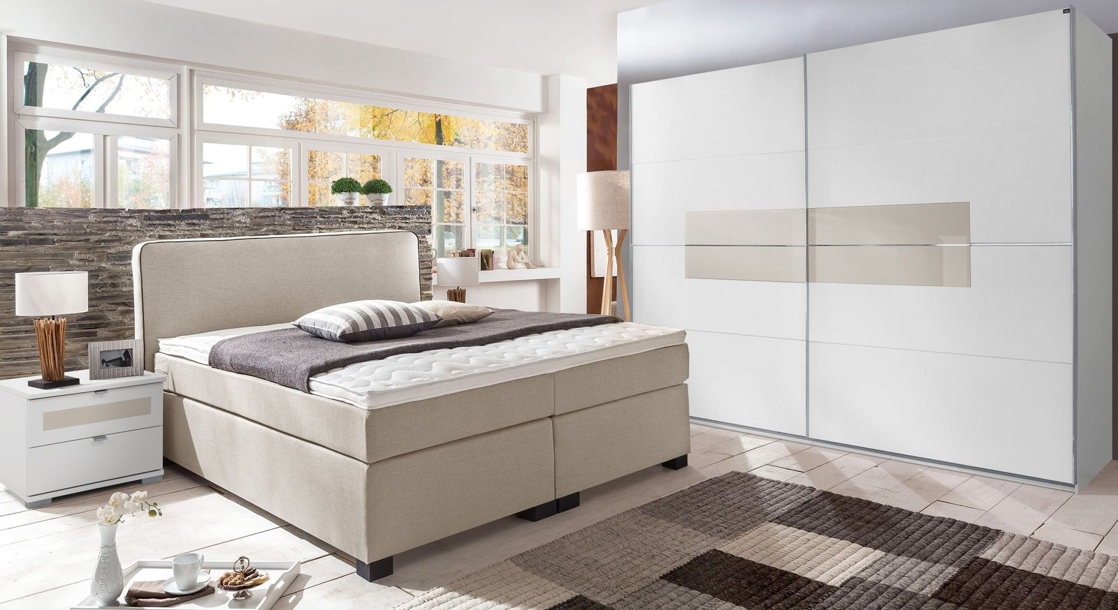 Boxspringbett Armento mit passenden Schlafzimmermöbeln